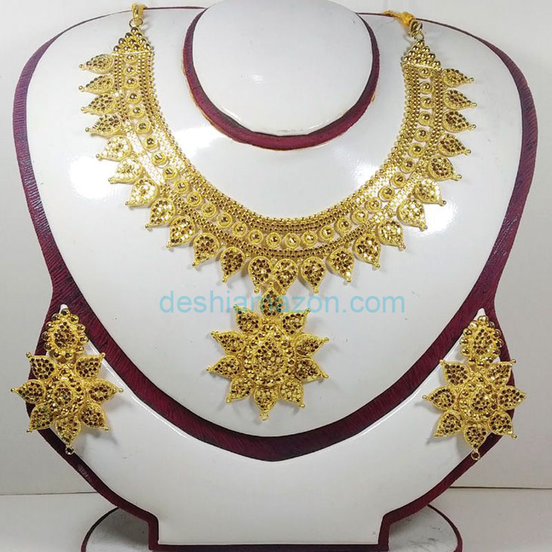 Chain Necklace Stone Work With Earrings   687669